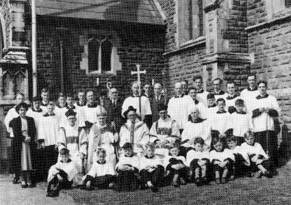 Clergy, servers and choir at the 60th anniversary celebrations, 1949