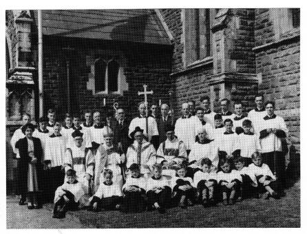 Fr Williams surrounded by servers and choir on the occasion of the Diamond Jubilee High Mass in 1949. This was his last major function in the parish before his retirement.